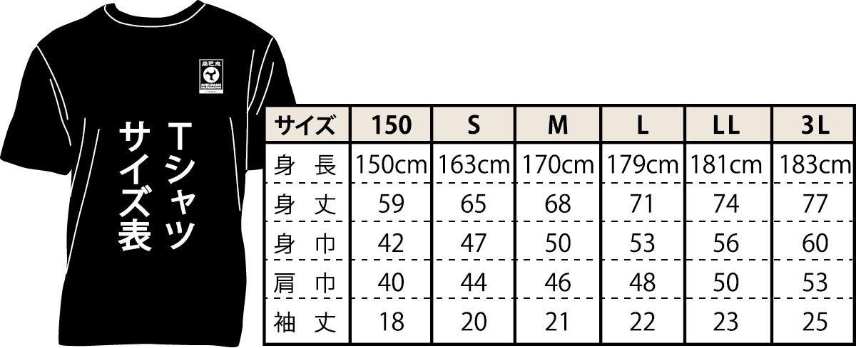 尚巴志ハーフマラソン Tシャツ サイズ表